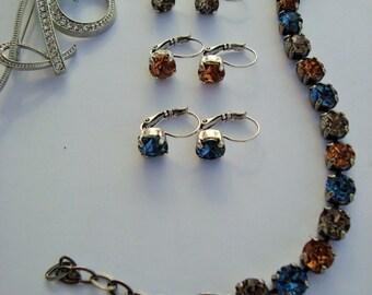 Swarovski Crystal Bracelet Denim Blue Greige Smokey Topaz Antique Silver Tennis Bracelet 8.5mm 39ss Chatons Spring Bracelet