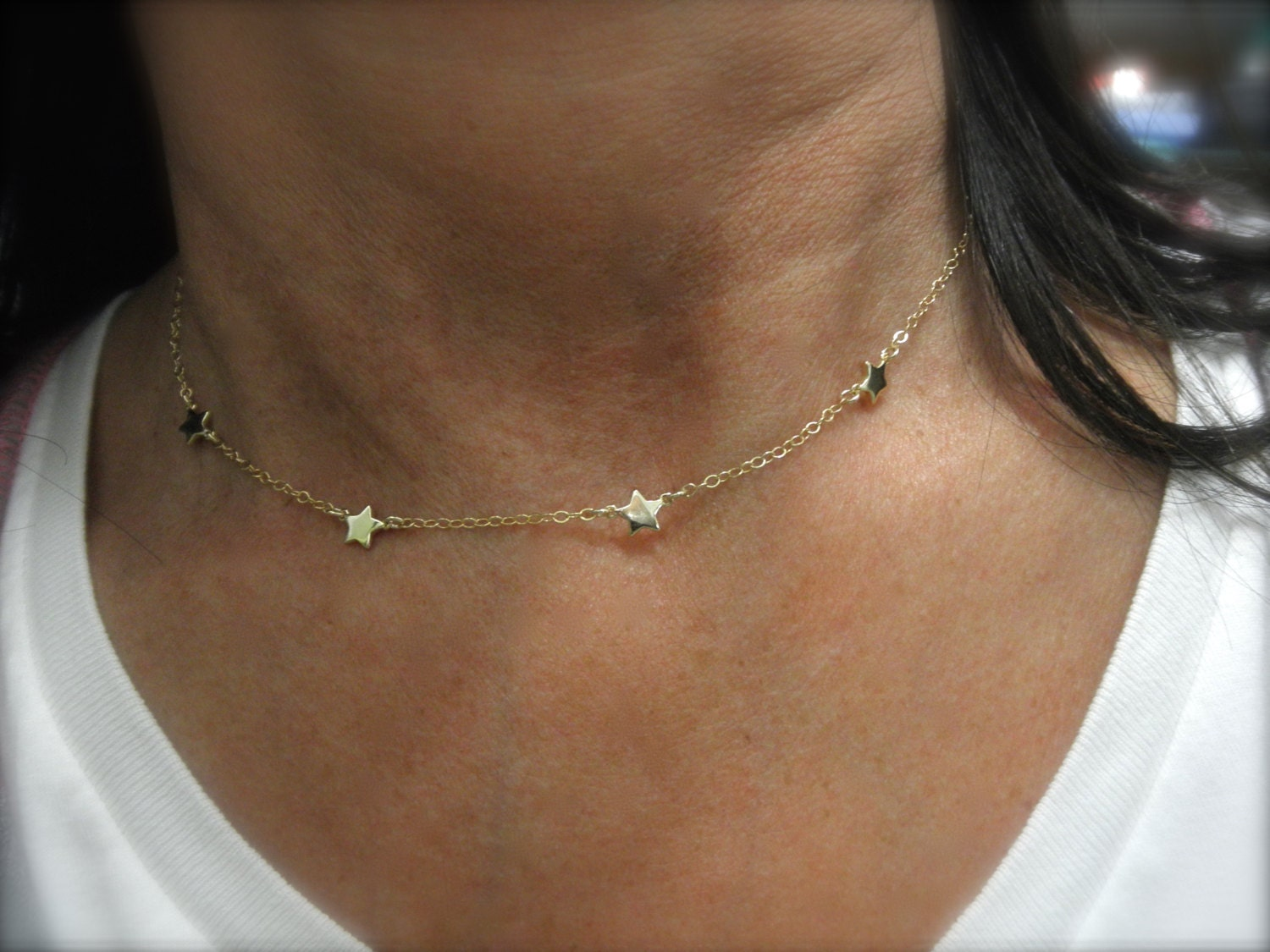Station Gold Star Necklace Mini Star Necklace 14k