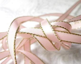 Gold Edged Pastel Pink Satin Ribbon 1/4 inch -- 3 yards -- Baby Pink -- 6mm