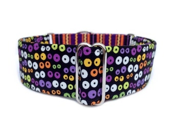 Glow-in-the-Dark Googly Eyes Dog Collar - 1-inch or 1.5-inch Monster Eyes and Fiesta Stripe Halloween Martingale Collar or Buckle Collar