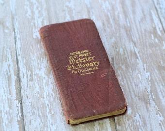 Antique Vintage Laird & Lee's Vest Pocket Webster Dictionary 1914