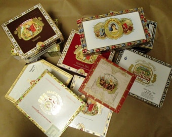Wedding centerpiece 10 pc Cigar Box lot - macanudo, romeo & juliet, cohiba, fuente,