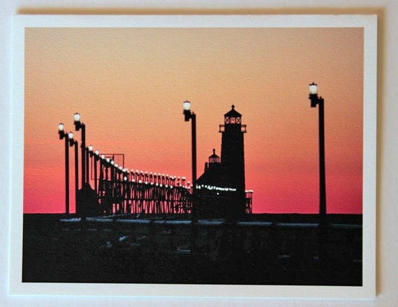 Michigan lighthouse, note card, blank greeting card, Sunset Over Grand Haven Lighthouse, fine art, single card, photo greeting cards,