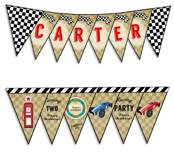 Printable Vintage Birthday Banner ~ Race car birthday party banner boy s vintage printable