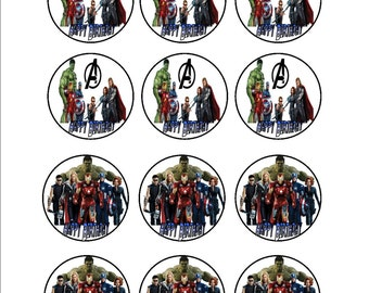 Avengers Cupcake Toppers & Avengers Thank You Tags