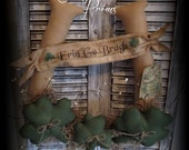Primitive St Patrick Day Horseshoe Door Greeter/ Folk Art St Pattys Day Decor