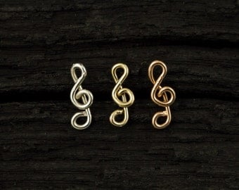 Treble clef Sterling Silver nose stud/nose screw/nose ring