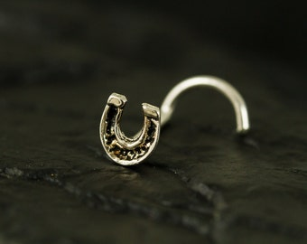 Mini horseshoe sterling silver nose stud / nose screw / nose ring