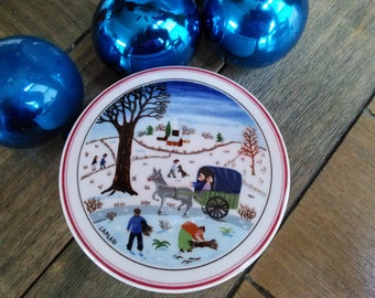 Villeroy & Boch Naif Christmas Laplau Trinket Box With Blue Winter Scene Porcelain
