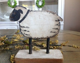 Farmhouse Wooden Sheep Accent Piece Sweet Little Black and White Sheep