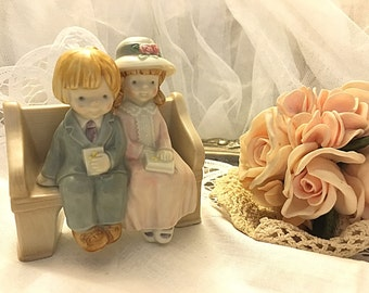 Vintage boy and girl figurine, Nursery decor, Baby decor