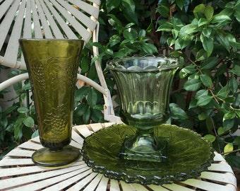 Vintage large Green Glass Vase, Green vase, leaf design glass plate
