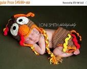 SALE Turkey Hat & Diaper Cover Set - Crochet Baby Newborn NB Beanie Cap Thanksgiving Costume Halloween Christmas