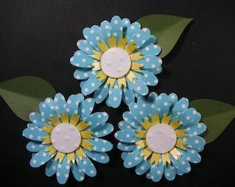 3 Handmade Teal Blue Scrapbook Flowers, Scrapbook embellishment, Cards, Decorating, Weddings,Banners