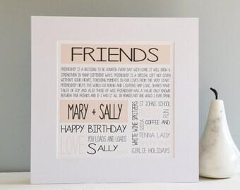 Personalised Friend Print in Self Standing Mount