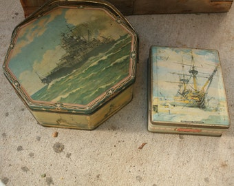 vintage toffee tin and biscuit tin, HMS Victory tin, USS Idaho vintage tin, hinged tin, R. Brierly, Edward Sharp & Sons LTD