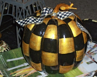 Whimsical French Market Style Gold Leaf and Black Checked Pumpkin Mackenzie Childs Courtly Check Ribbon