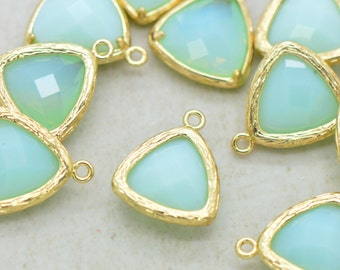 Triangle Jewel Charms MINT ALABASTER Faceted Glass in 24k GOLD Plated Brass Setting Drop Gem ...