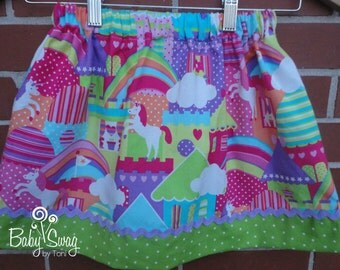 Unicorn and rainbow skirt, Girls Skirt, rainbow skirt, Ready to ship size 4/5