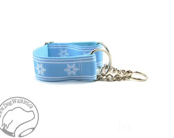 "Winter Wonderland in Glacial Blue - 1.5"" (38mm) Wide - Choice of collar style and size - Martingale Dog Collars or Quick Release Buckle"