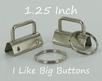 100 Sets - Silver - 1.25 INCH (32 mm) Key Fob Hardware with Split Rings Wristlet/Key Chains