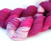"Hand Dyed Sock Yarn, Superwash Merino, Nylon and Silver Stellina Fingering Weight, in ""Love Me Do"""
