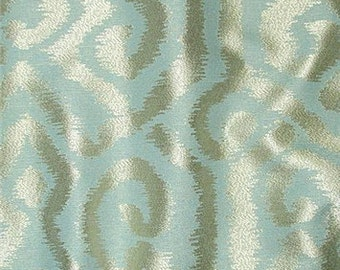 Mist Green and Silver Ikat Jaquard Pillow Covers in Currier Mist Designer Fabric