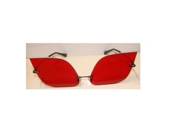 Anime Large red rhomboid cosplay glasses