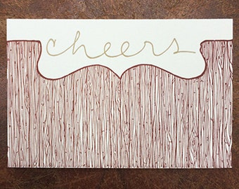 Cheers! Letterpress Holiday Card, Blank w. Matching Envelope