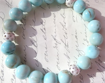 Amazing Quality Hemimorphite and Sterling Silver with Crystals Stretch Bracelet