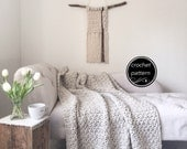 Crochet Pattern Chunky Blanket Throw Afghan Pattern The BIRCH Blanket