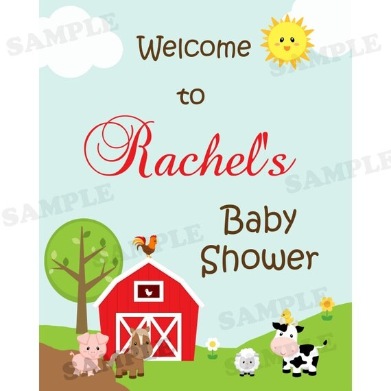 farm baby shower welcome sign printable welcome sign personalized