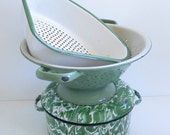 Vintage Green Enamelware Graniteware Lot Pot Strainer Colander Choose