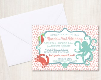 Octopus party Invitation - Pool party Invitation- under the sea - beach party - party supplies