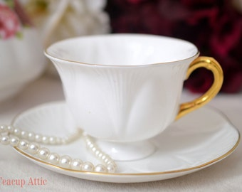 Shelley Brilliant White Footed Dainty Shape Teacup And Saucer Set, English Bone China Tea Cup Set, Wedding Gift, ca. 1945-1966