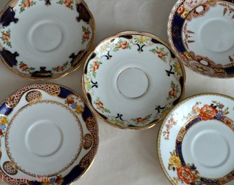 Set of 5 Mismatched Imari Saucers, Shabby Chic Interior Decor, Vintage Wedding, English Bone China