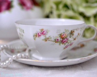 ON SALE M & Z Austria Floral Teacup And Saucer With Hexagon Foot, Austrian Moritz Zdekauer Bone China Tea Cup And Saucer, ca.  1891-1909