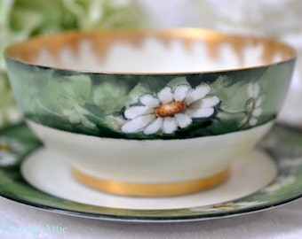 ON SALE A K Limoges Bowl With Daisies and Signed by the Artist Mary Burnett, French Porcelain Bowl And Plate, ca. 1890-1910