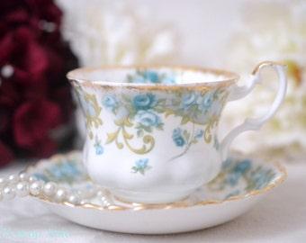Royal Albert Sheraton Series-Veronica Teacup and Saucer Set, English Bone China Tea Cup, ca. 1962-1980