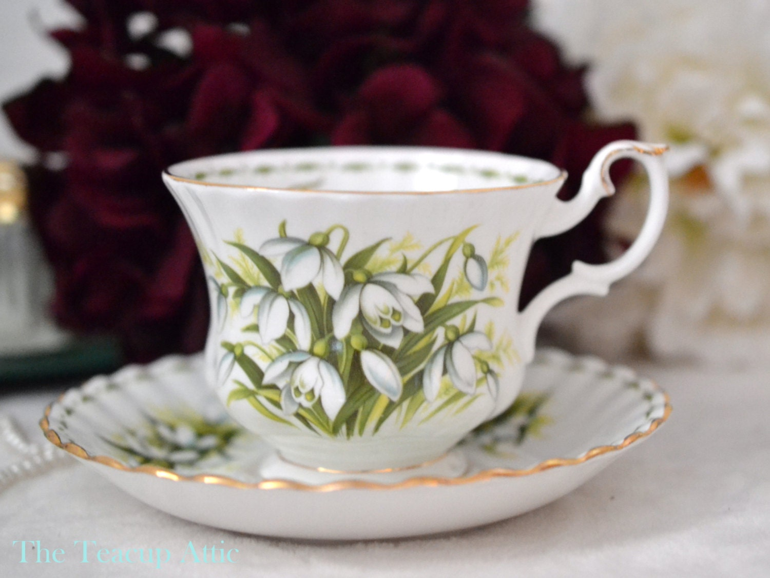 Royal Albert Teacup and Saucer Flower of the Month Series January Snowdrops, English Bone China Tea Cup Set, Birthday Gift, ca 1970-