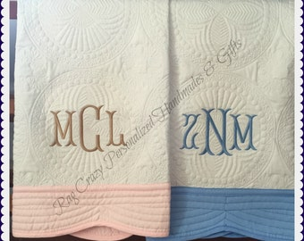 Monogrammed Baby Quilt - Personalized Baby Quilt - Baby Boy Quilt - Baby Girl Quilt - Baby Quilts