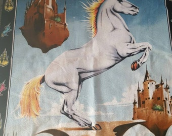 Vintage Tapestry Unicorn Castles  Turkish Cotton Wall Hanging Fantasy Art