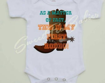 Baby's first rodeo, rodeo outfit, western baby gift, first rodeo outfit for baby, baby's western outfit, baby western bodysuit