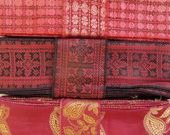 Bollywood Vintage Red Sari borders, SR80