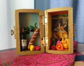 Athena Mini Box Shrine. Miniature Nicho.  Travel Altar. Shadow Box. Minerva.  Shadow Box. Mixed Media Altered Art.