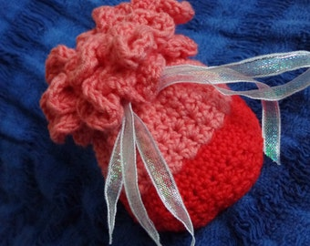 Red and Pink Flower Top Crochet Charm Bag Medicine Bag.  Clearance.  Discount.  50% OFF!