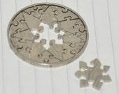 Coin cut puzzle. 16 pcs. Heptagram star.