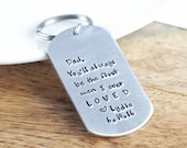 Personalized Hand Stamped Keychain, Father-of-the-bride gift, Brides gift to Dad on wedding day, Wedding day gift for Dad, Handmade keychain