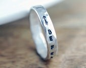 Personalized Ring, Hand Stamped Ring, Inspiration Ring, Inspirational Jewelry, Be Fearless ,Arrow Ring, Sterling Silver Stacking Ring
