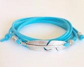 feather bracelet, bohemian jewelry, boho style wrap bracelet, beach gypsy jewelry